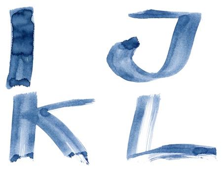 Grunge handwritten ink alphabet, isolated on white background. Letters IJKL photo