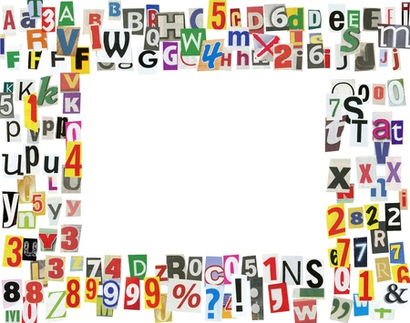 Picture frame, made of newspaper letters, numbers and punctuation marks, isolated on white photo