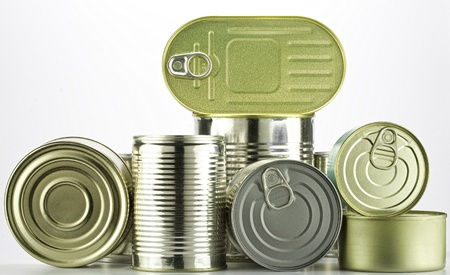 canned: lots of cans against white background Stock Photo