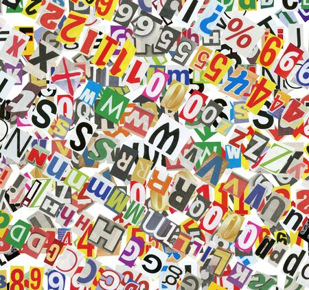 Background, made of newspaper letters, numbers and punctuation marks