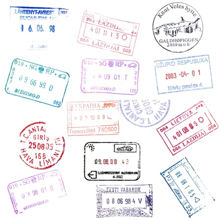 visa approved: Colorful passport stamps background.