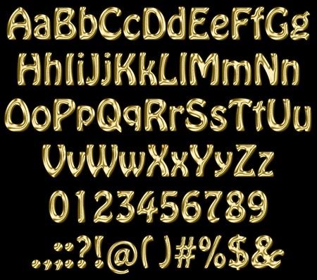 letter case: Golden letters on black background