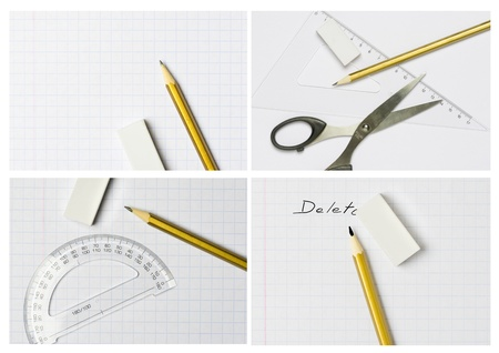 fundamentals: pencil, eraser,scissors,exercise book and ruler photos collection