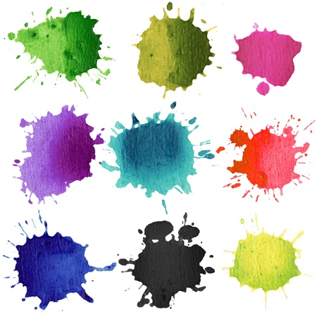 Set of watercolor blobs, isolated on white background Stock Photo - 10628430