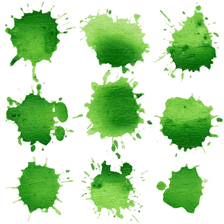 'paint splatter': Set of watercolor blobs, isolated on white background