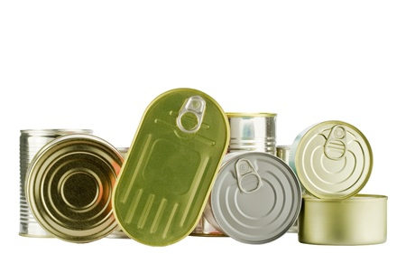 lots of cans isolated on white photo