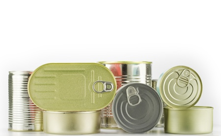 packaged: lots of cans isolated on white