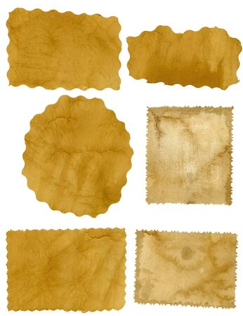 Six pieces of old paper on white background Stock Photo - 10704149