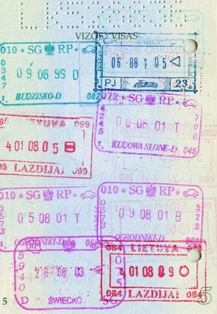 Passport page with visa stamps photo