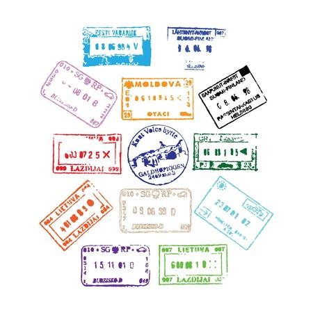 あなたの設計のためのカラフルなパスポート スタンプ背景