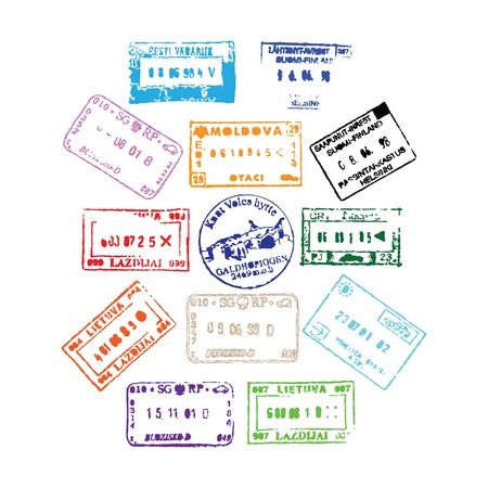 Colorful passport stamps background for your design photo