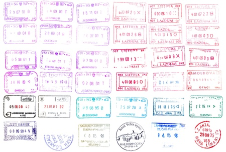 visa approved: Colorful passport stamps background for your design