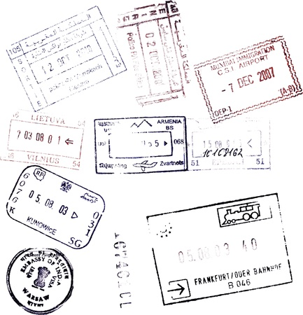 passport background: passport stamps background for your design Stock Photo
