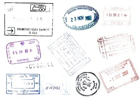 visa approved: Soft passport stamps background for your design Stock Photo