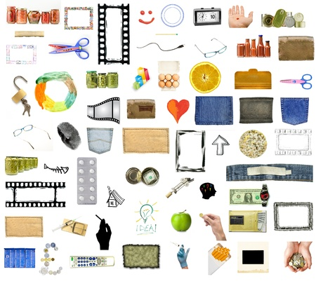 Collection of many objects isolated on white background photo