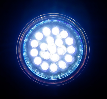 Blue led lamp, front view. Stock Photo - 11726415