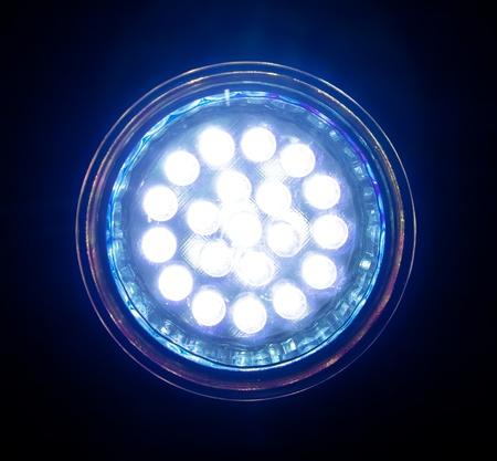 led light: Blue led lamp, front view. Stock Photo