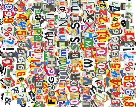 Background, made of newspaper letters, numbers and punctuation marks photo