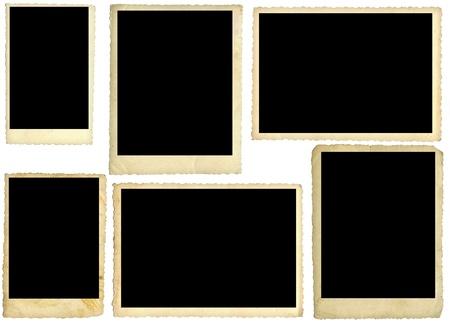 Šest staré fotografie, na zadní straně, izolovaných na bílém Reklamní fotografie
