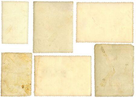 Six old photos, back side, isolated on white photo
