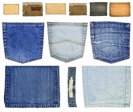jeans texture: Colecci�n de etiquetas de jeans, los bolsillos y las piernas