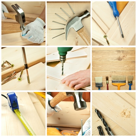 Different tools on a wooden background photo