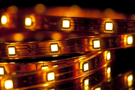 Glowing LED garland on black background