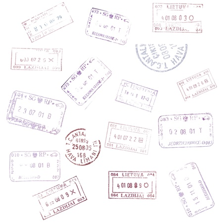 passport stamps background for your design photo