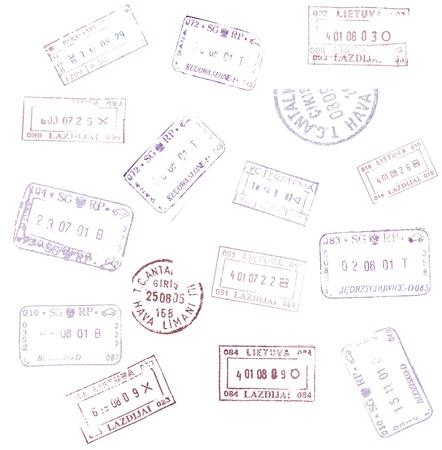 pasaporte: sellos de pasaportes de fondo para su diseño Foto de archivo