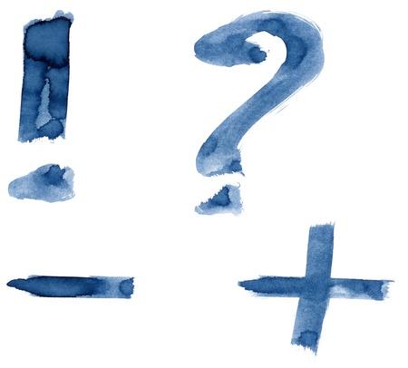 exclamation point: Grunge handwritten ink alphabet, isolated on white background. Punctuation marks Stock Photo