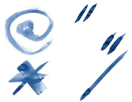 slash: Grunge handwritten ink alphabet, isolated on white background. Punctuation marks Stock Photo