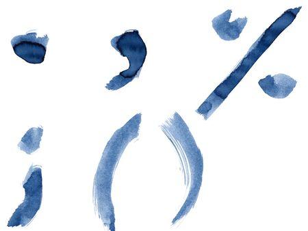 Grunge handwritten ink alphabet, isolated on white background. Punctuation marks Stock Photo - 12154619
