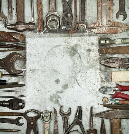 old items: Old tools background with copyspace