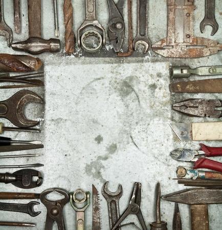 Staré nástroje pozadí s copyspace Reklamní fotografie