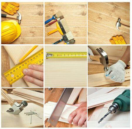 herramientas de carpinteria: Diferentes herramientas sobre un fondo de madera.