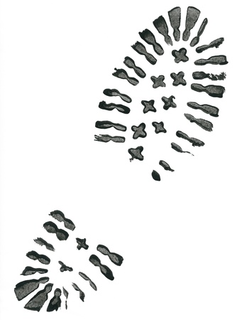 blue print: Black shoe print on white background