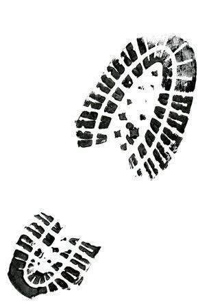 Černá bota tisk na bílém pozadí