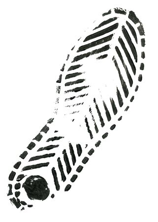 tred: Black shoe print on white background