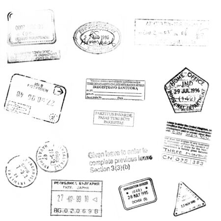 stamp passport: passport stamps background for your design Stock Photo
