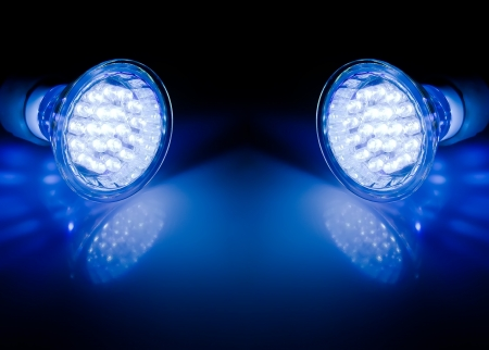 Blue beams of two led lamps