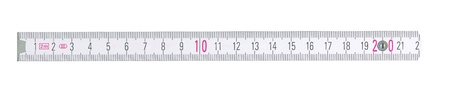 Close up of a carpentry ruler on white background  photo
