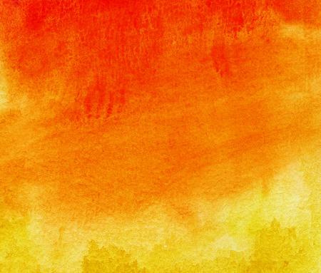 抽象的な黄色、赤、オレンジ色の水彩画の背景