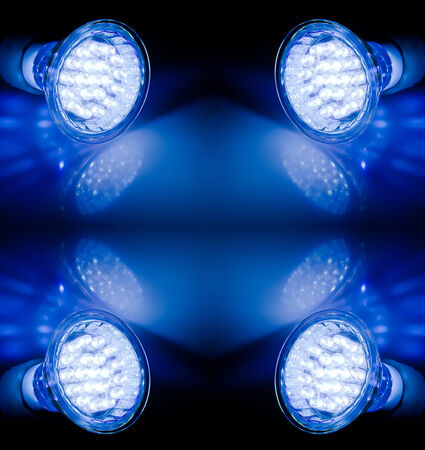 Blue beams of two led lamps photo