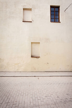 nailed: Old nailed windows on the wall Stock Photo