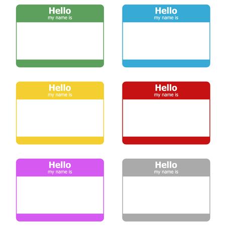 Hola, mi nombre es. Etiqueta engomada de la etiqueta del vector Ilustración de vector