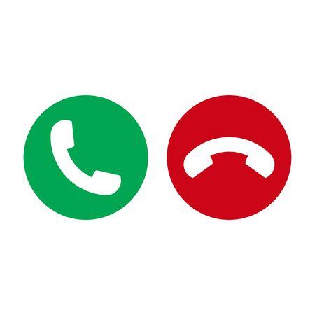Icono de vector de teléfono. Aceptar y rechazar el símbolo. Icono de auricular.