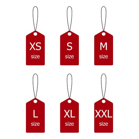 Collection of label size clothing. Stickers with size clothing. Vector illustration. Illusztráció