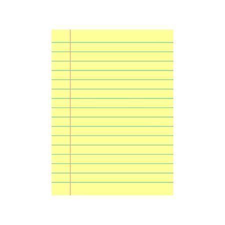 Notebook-Papierhintergrund. Gelb liniertes Papier. Vektor-Illustration