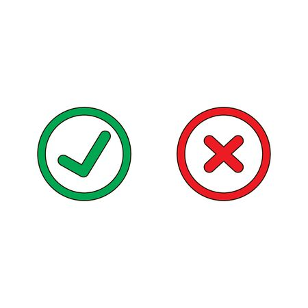 Tick and cross signs. Green checkmark OK and red X icons, isolated on white background. Vector illustration