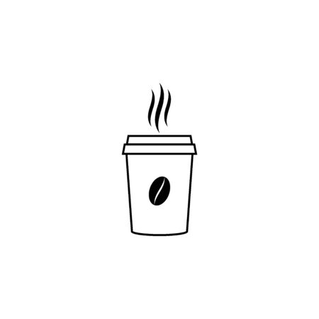 Hot coffee cup vector icon.